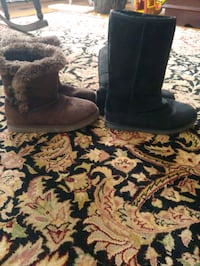 Girls size 2 Black and Brown Boots! Worn once! $15 for both!