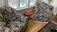 Two brown-green-red floral sofa chairs Falls Church, 22043