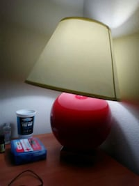 red and white table lamp