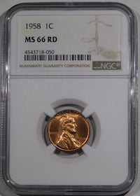 1958 Lincoln Cent NGC MS-66 RED Fort Lee, 07024