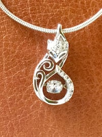 Sterling Silver Foxy pendant with crystal / Silver 925 stamped necklace with pendant
