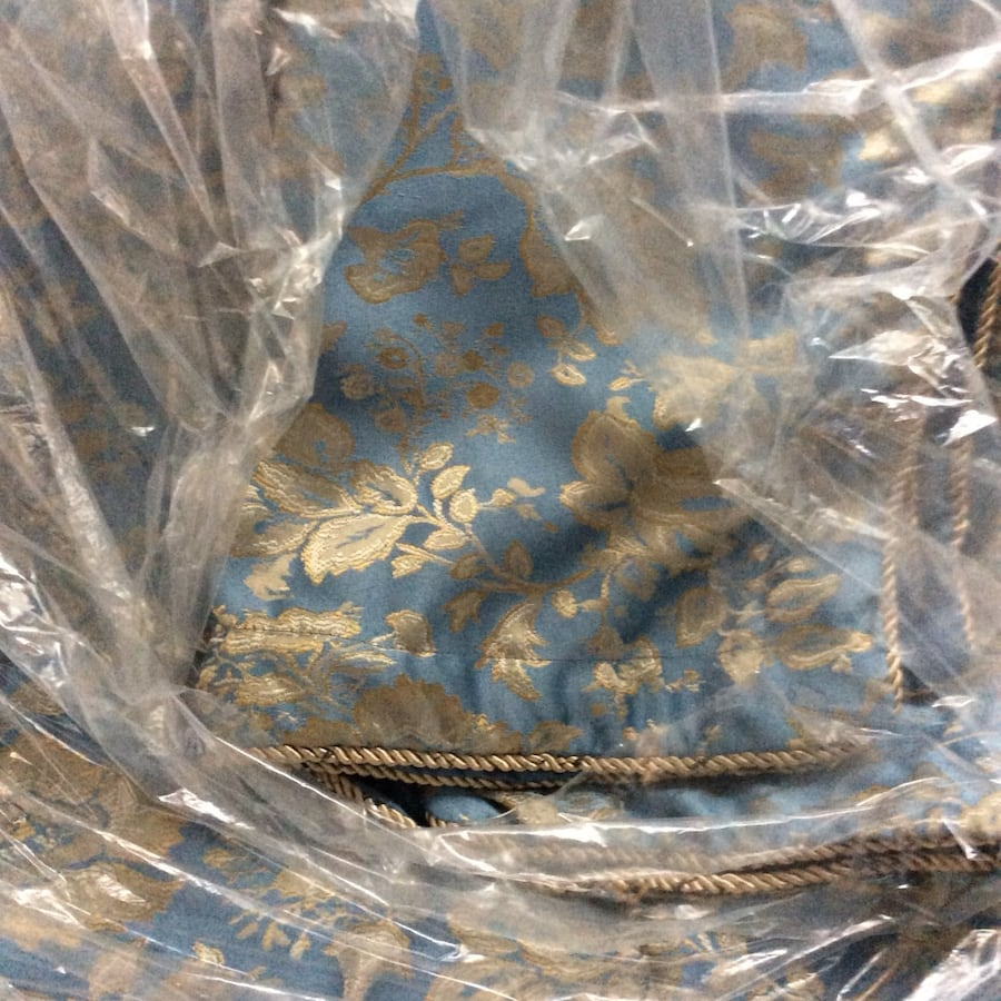 High quality Blue and gold king size bed set