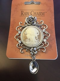 Classy Cameo Silver Raw Charm brooch - coat pin for scarf and jackets / New