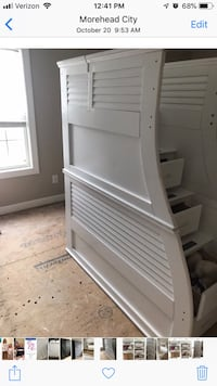 White wooden bed frame with mattress Morehead City, 28557