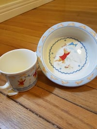 white and blue plastic bowl and cup Kitchener, N2M 3K4