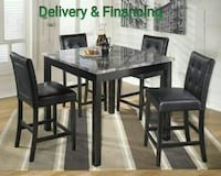 Black/Gray 5-Pc Square Counter Height Dining Set  Sugar Land, 77478