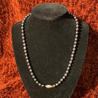 Genuine Black Pearl Necklace with 14k Gold Clasp Sterling, 20165