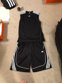 Adidas sleeveless top and matching shorts- black and white - large - brand new, never worn