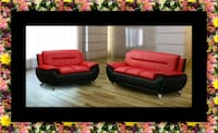Red/black sofa and loveseat 2pc set Temple Hills