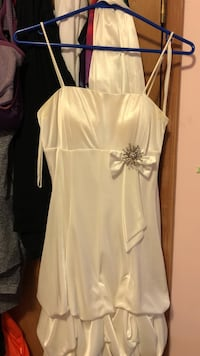 women's white spaghetti-strap dress