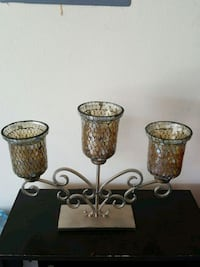 three brown metal candle holders Edinburg, 78541