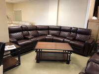 Burgundy Leather Power Reclining Sectional w/ Cup Cooling/Heating and LED Underlighting Jacksonville, 32216