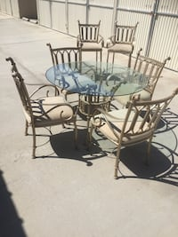 Round clear glass dinette set & barstools