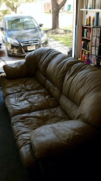 Tan leather Natuzzi couch  Pflugerville, 78660