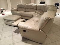 White leather pull out couch with ottoman Babylon, 11702