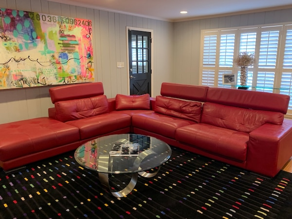 8e8ad10fede Used Red leather sectional couch and area rug for sale in Sandy Springs