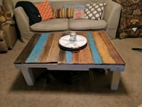 rectangular brown and blue wooden coffee table Huntsville, 35803