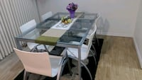 rectangular glass top table with six chairs dining set Pitt Meadows, V3Y 2S1