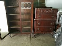 two brown wooden display cabinet and dresser