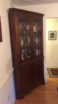 brown wooden framed glass display cabinet Virginia Beach, 23451