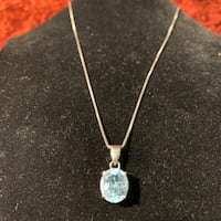 Natural Aquamarine & Sterling Silver Pendant with Italian Box Chain Chantilly, 20151