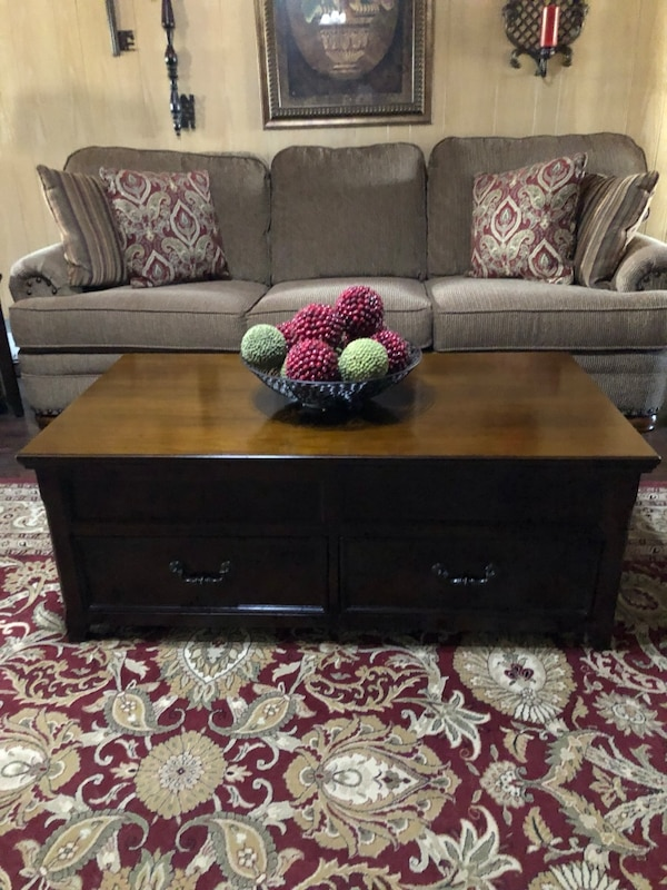 Used Lift Top Coffee Table With Storage And 2 Side Tables Drawer Cherry Wood Good Condition Some Scratches On Tops For In Arlington