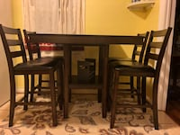New brown wooden table with four chairs dining set 45 km