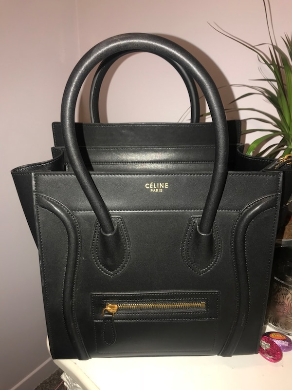 black Celine leather handbag