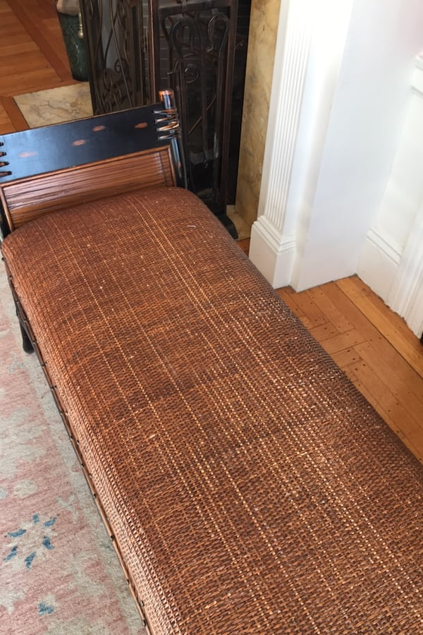 Wicker and wood bench 7a679287-8bd9-4451-bd21-255aa70688e9