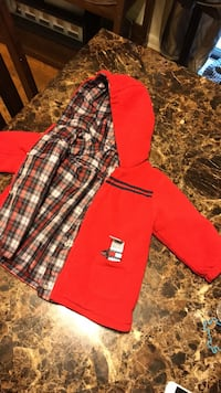 Red and black jacket .