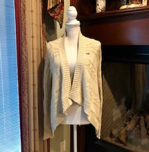 Hollister Cream Cable-knit Cardigan