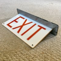 Vintage Ceiling Mount One Sided EXIT SIGN - McPhilben Mfg Co. Brooklyn Easton, 18042