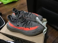 pair of gray Adidas Yeezy Boost 350 V2 with box Silver Spring, 20903