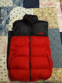 black and red bubble jacket