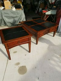 brown wooden framed glass top coffee table Marseilles, 61341