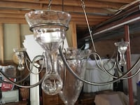 Stainless steel framed glass shade uplight chandelier Vaughan, L6A 0H4