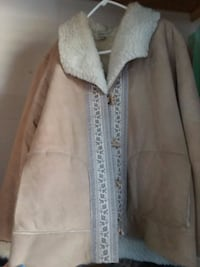white and tan fur jacket Bethany, 73008