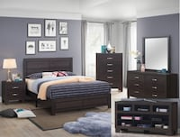 Brown color queen 5pc bedroom set College Park