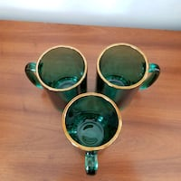 3 Beautiful gold rim cocktail glasses with handle in Sea Green Washington