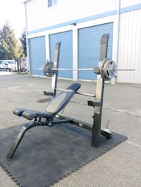 Workout bench with bar and standar weight Mine Hill Township