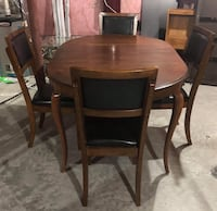 Elegant natural wood sturdy dining table with 4 wooden chairs Ottawa, K2M 0L5