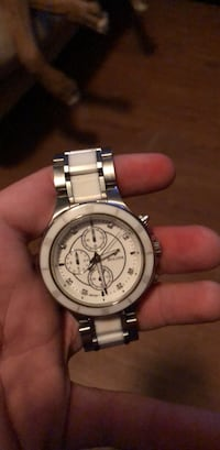 Round silver chronograph watch with silver link bracelet Abilene, 79606