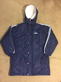 Vintage 90's Adidas Blue Big Logo 3-Stripe Long Puffer Coat Jacket Size Large Laurel, 20708