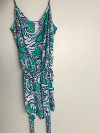 women's teal and white floral-print spaghetti strap dress