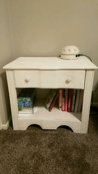 white wooden single drawer side table Tempe