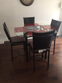 Rectangular brown wooden table with six chairs dining set Hamilton