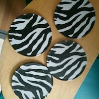 Four white-and-black zebra print coasters Saskatoon, S7J 1X2