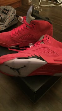 retro red suede Air Jordan 5's shoes