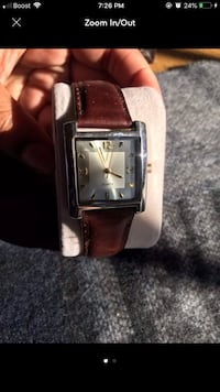 square silver analog watch with brown leather strap Bowie, 20721
