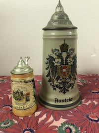 two white-and-brown ceramic beer steins Visalia, 93292